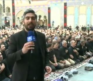 انعكاس خبرى حضور هيئات عزادار و نماز ظهر عاشوراى حسينی در آستان مقدس - پخش از شبكه های سيما